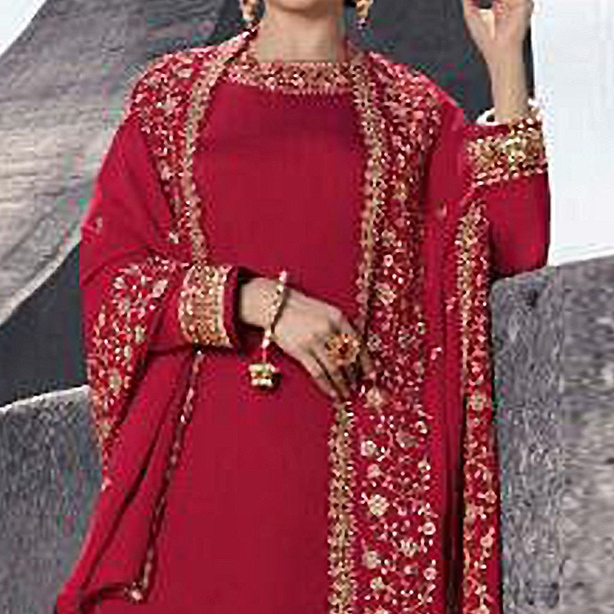 Appealing Red Colored Partywear Embroidered Satin Georgette Abaya Style Palazzo Suit