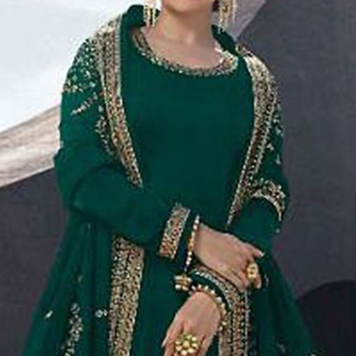 Capricious Green Colored Partywear Embroidered Satin Georgette Abaya Style Palazzo Suit