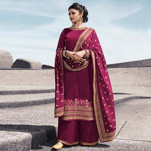 Entrancing Pink Colored Partywear Embroidered Satin Georgette Abaya Style Palazzo Suit