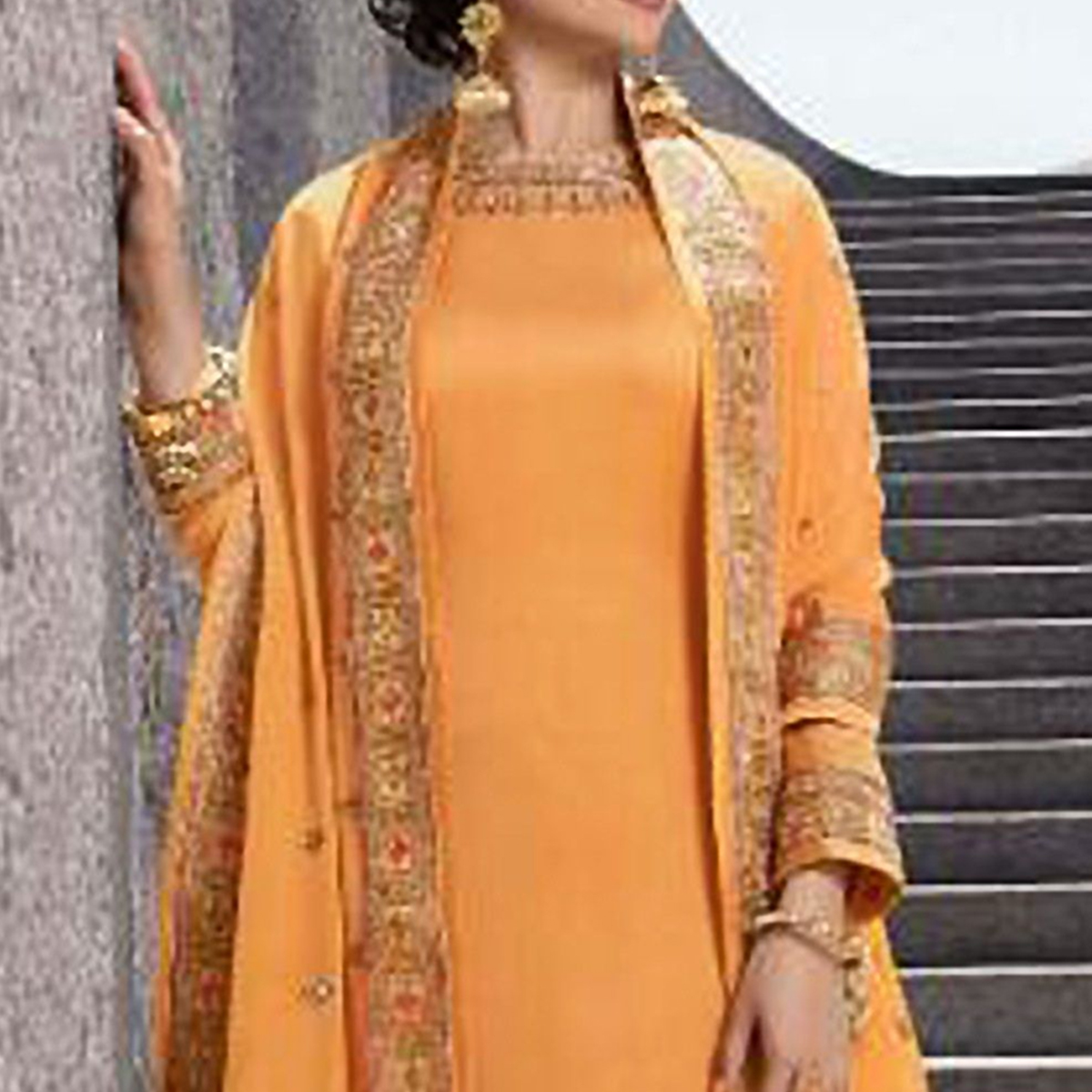 Groovy Yellow Colored Partywear Embroidered Satin Georgette Abaya Style Palazzo Suit