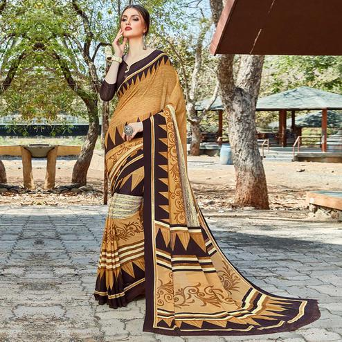 Arresting Beige Colored Casual Wear Georgette Saree