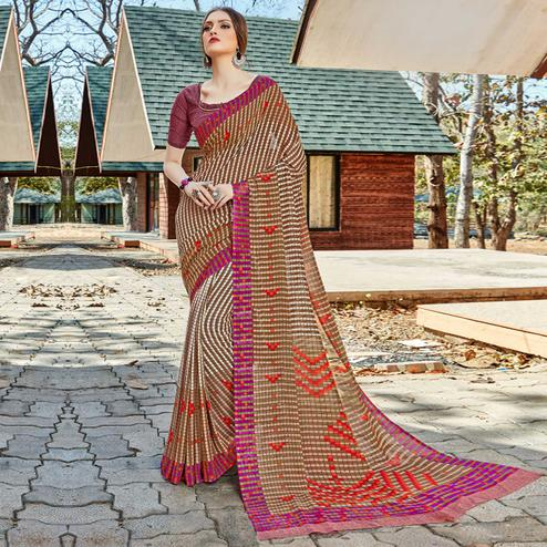Desirable Beige Colored Casual Wear Georgette Saree