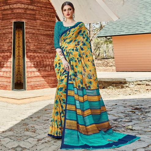 Exotic Yellow Colored Casual Wear Georgette Saree