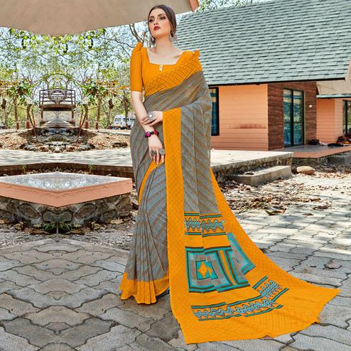Elegant Grey-Yellow Colored Casual Wear Georgette Saree