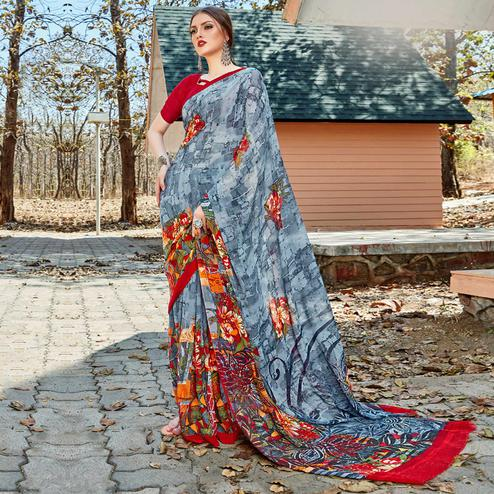 Pleasant Grey Colored Casual Wear Georgette Saree