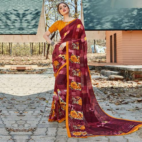 Opulent Maroon Colored Casual Wear Georgette Saree
