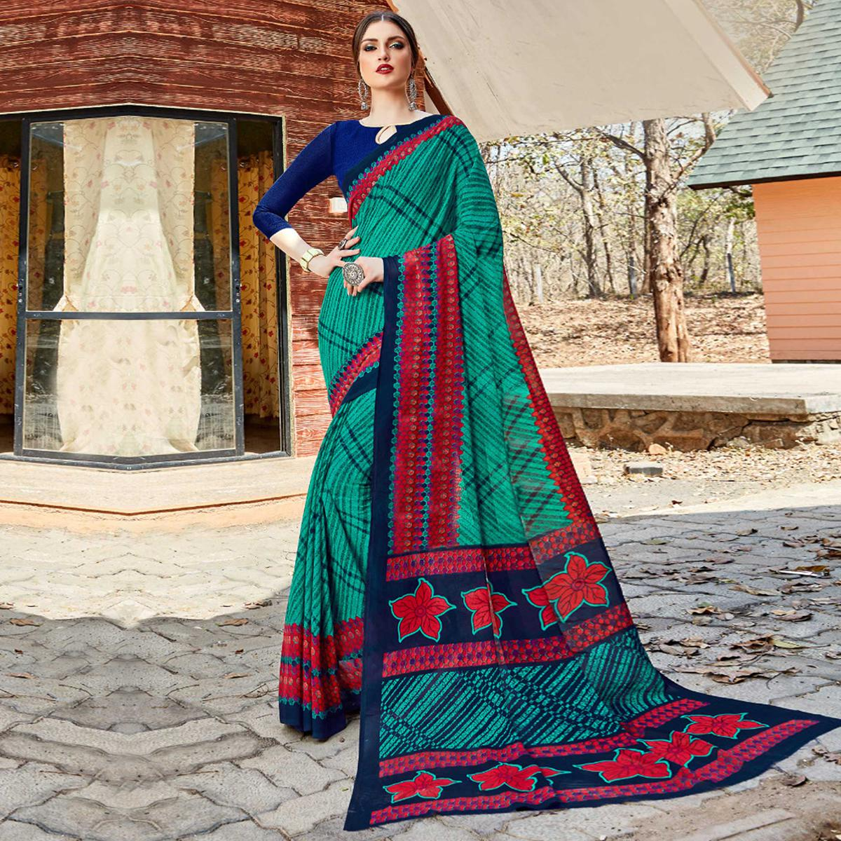 Energetic Green Colored Casual Wear Georgette Saree