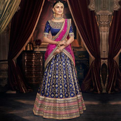 NAKKASHI - Glorious Blue Colored Party Wear Floral Embroidered Handloom Silk Lehenga Choli