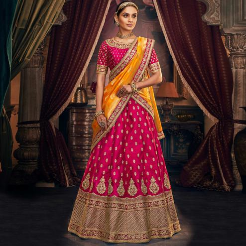 NAKKASHI - Delightful Pink Colored Party Wear Floral Embroidered Handloom Silk Lehenga Choli