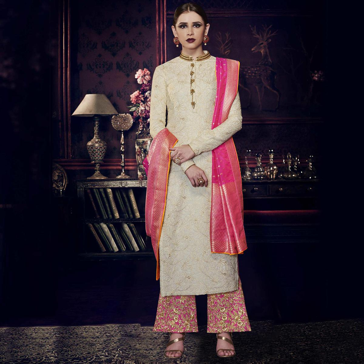 NAKKASHI - Elegant Cream Colored Party Wear Embrodiered Tussar Silk Palazzo Suit