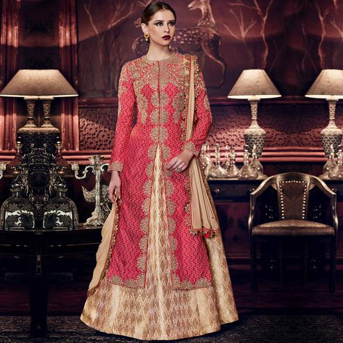 NAKKASHI - Pleasant Red-Beige Colored Party Wear Embrodiered Tussar Silk Lehenga Kameez