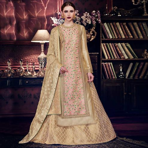 NAKKASHI - Opulent Beige Colored Party Wear Embrodiered Handloom Silk Lehenga Kameez