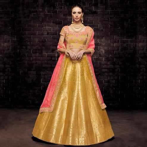 NAKKASHI - Trendy Yellow Colored Party Wear Woven Banarasi Silk Lehenga Choli