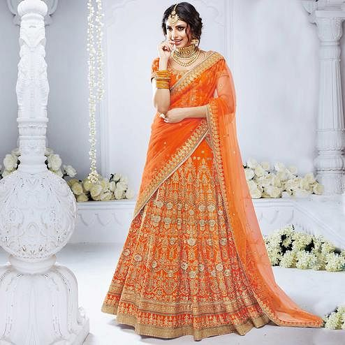 NAKKASHI - Arresting Orange Colored Party Wear Embroidered Bhagalpuri Silk Lehenga Choli