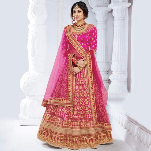 NAKKASHI - Elegant Hot Pink Colored Party Wear Embroidered Bhagalpuri Silk Lehenga Choli