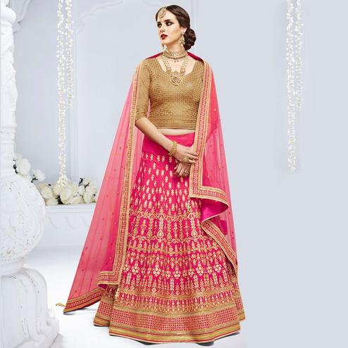 NAKKASHI - Pleasant Pink Colored Party Wear Embroidered Raw Silk Lehenga Choli