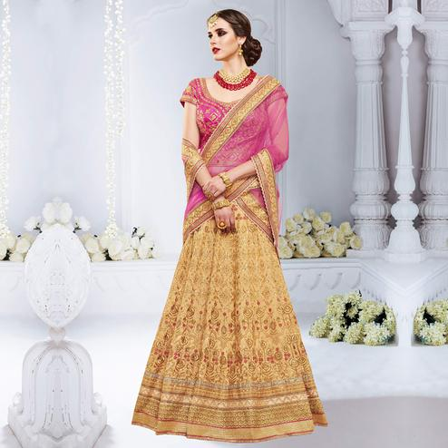 NAKKASHI - Opulent Beige-Pink Colored Party Wear Embroidered Bhagalpuri Silk Lehenga Choli