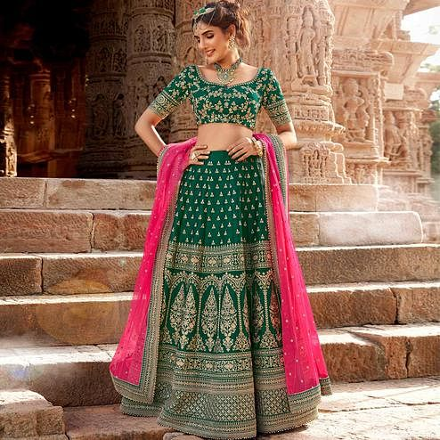 NAKKASHI - Preferable Green Colored Party Wear Embroidered Handloom Silk Lehenga Choli