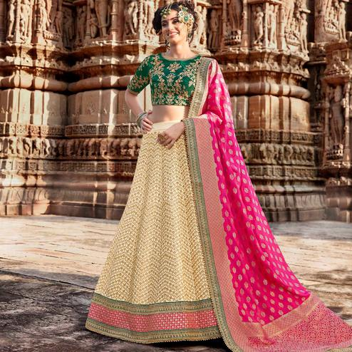 NAKKASHI - Gleaming Beige Colored Party Wear Embroidered Handloom Silk Lehenga Choli