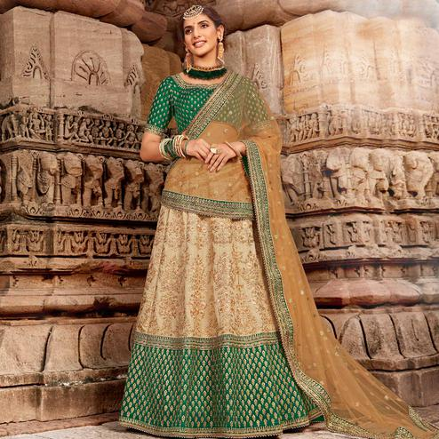 NAKKASHI - Gorgeous Beige Colored Party Wear Embroidered Raw Silk Lehenga Choli