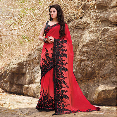 Hot Red Georgette Partywear Embroidered Saree