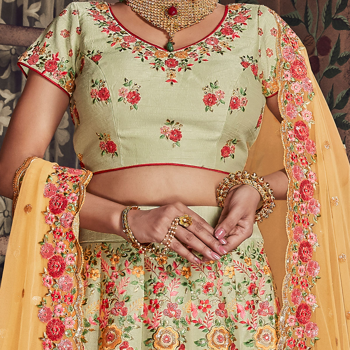 NAKKASHI - Mesmerising Light Green Colored Party Wear Floral Embroidered Raw Silk Saree