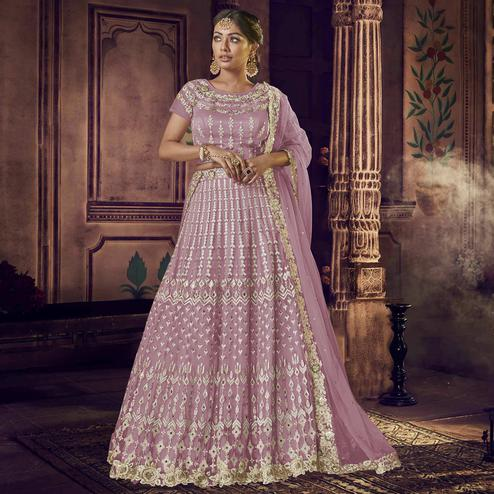 NAKKASHI - Pleasance Light Purple Colored Party Wear Floral Embroidered Net Saree