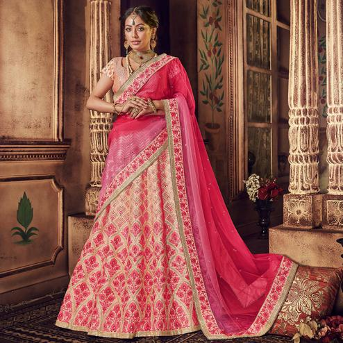 NAKKASHI - Staring Pink Colored Party Wear Floral Embroidered Raw Silk Saree