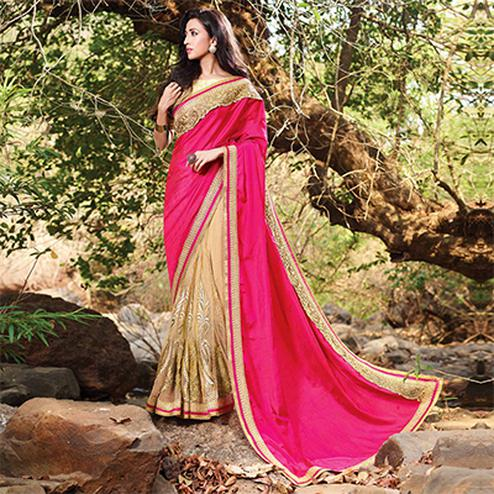 Gorgeous Beige-Pink Art Silk & Net Embroidered Partywear Saree