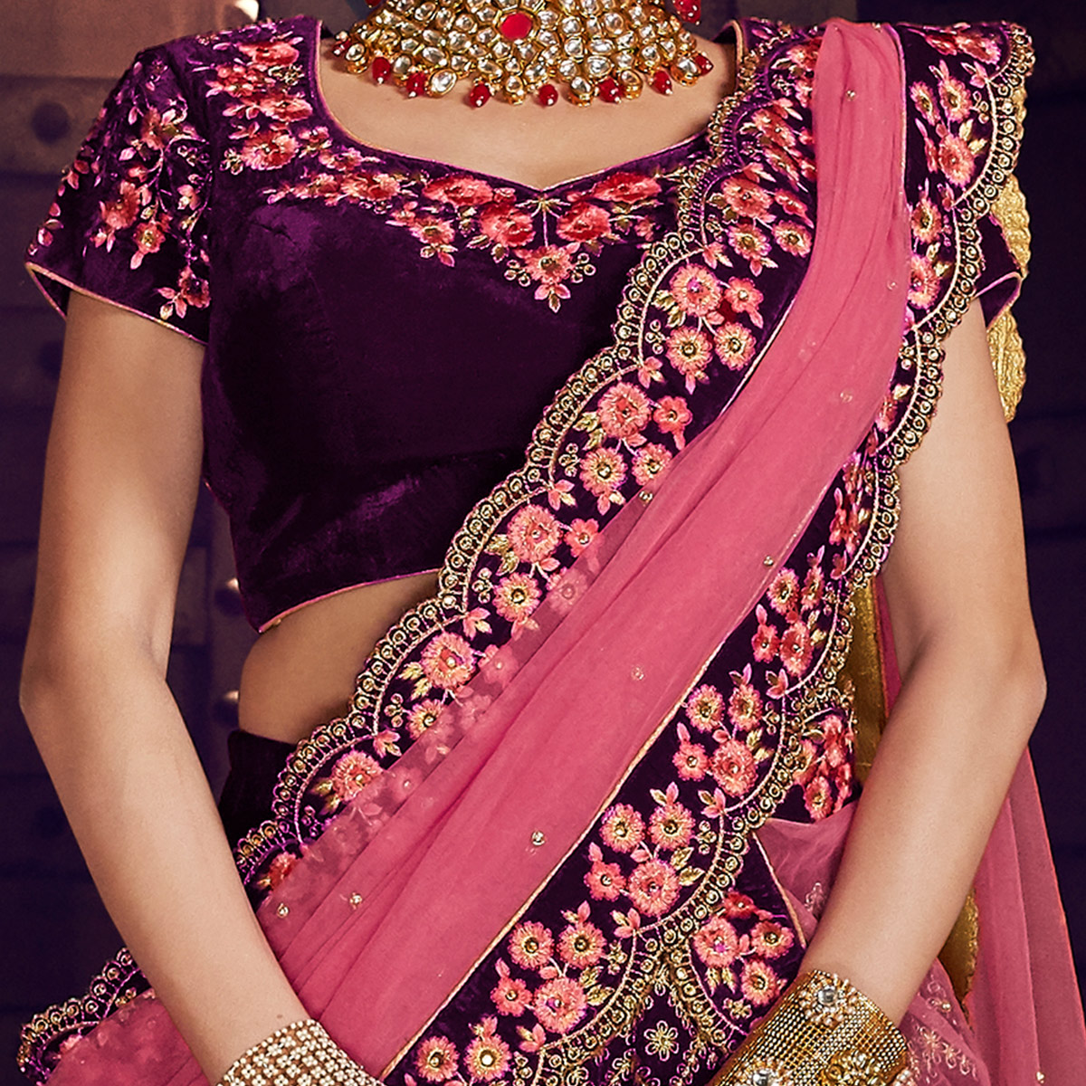 NAKKASHI - Dazzling Purple Colored Party Wear Floral Embroidered Velvet Saree