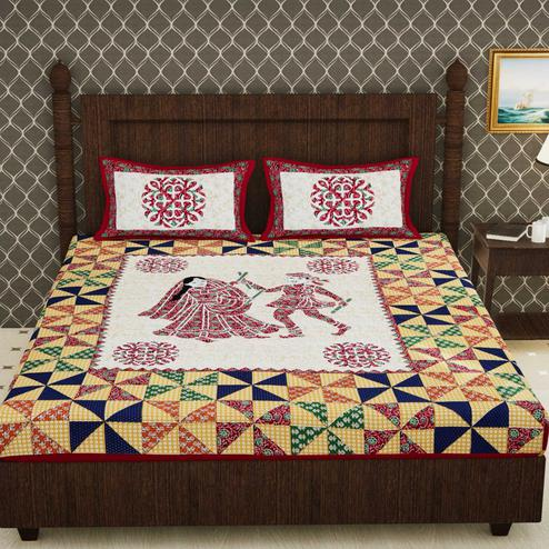 Diva Collection - Red Colored Jaipuri Print Cotton Double Bedsheet with 2 Pillow Cover