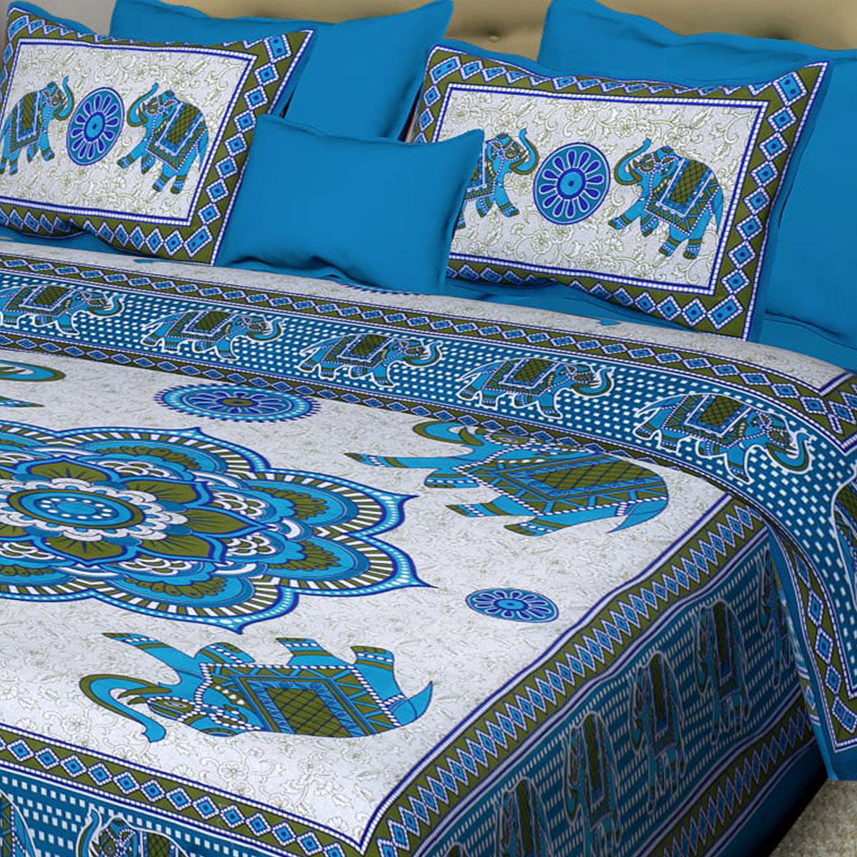 Diva Collection - Sky Blue Colored Jaipuri Print Cotton Double Bedsheet with 2 Pillow Cover