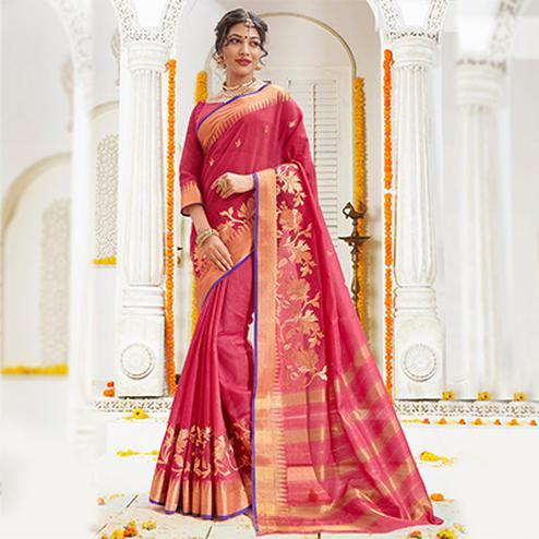 Gorgeous Dark Pink Cotton Silk Embroidered Festive Wear Saree