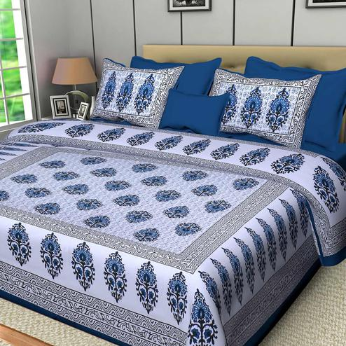 Diva Collection - Blue Colored Jaipuri Print Cotton Double Bedsheet with 2 Pillow Cover