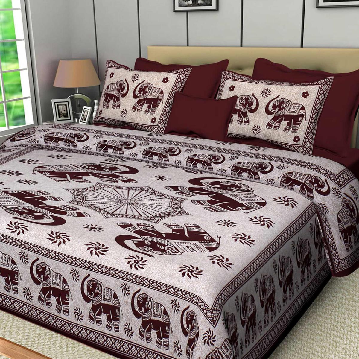 Diva Collection - Brown Colored Jaipuri Print Cotton Double Bedsheet with 2 Pillow Cover