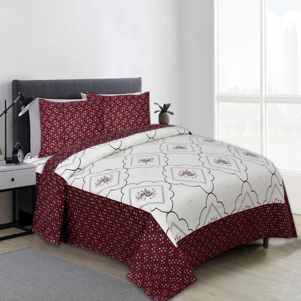 Diva Collection - Brown Colored Jaipuri Print Cotton King Bedsheet with 2 Pillow Cover