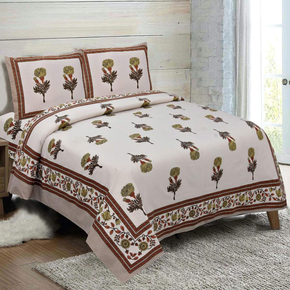 Diva Collection - Green Colored Jaipuri Print Cotton King Bedsheet with 2 Pillow Cover