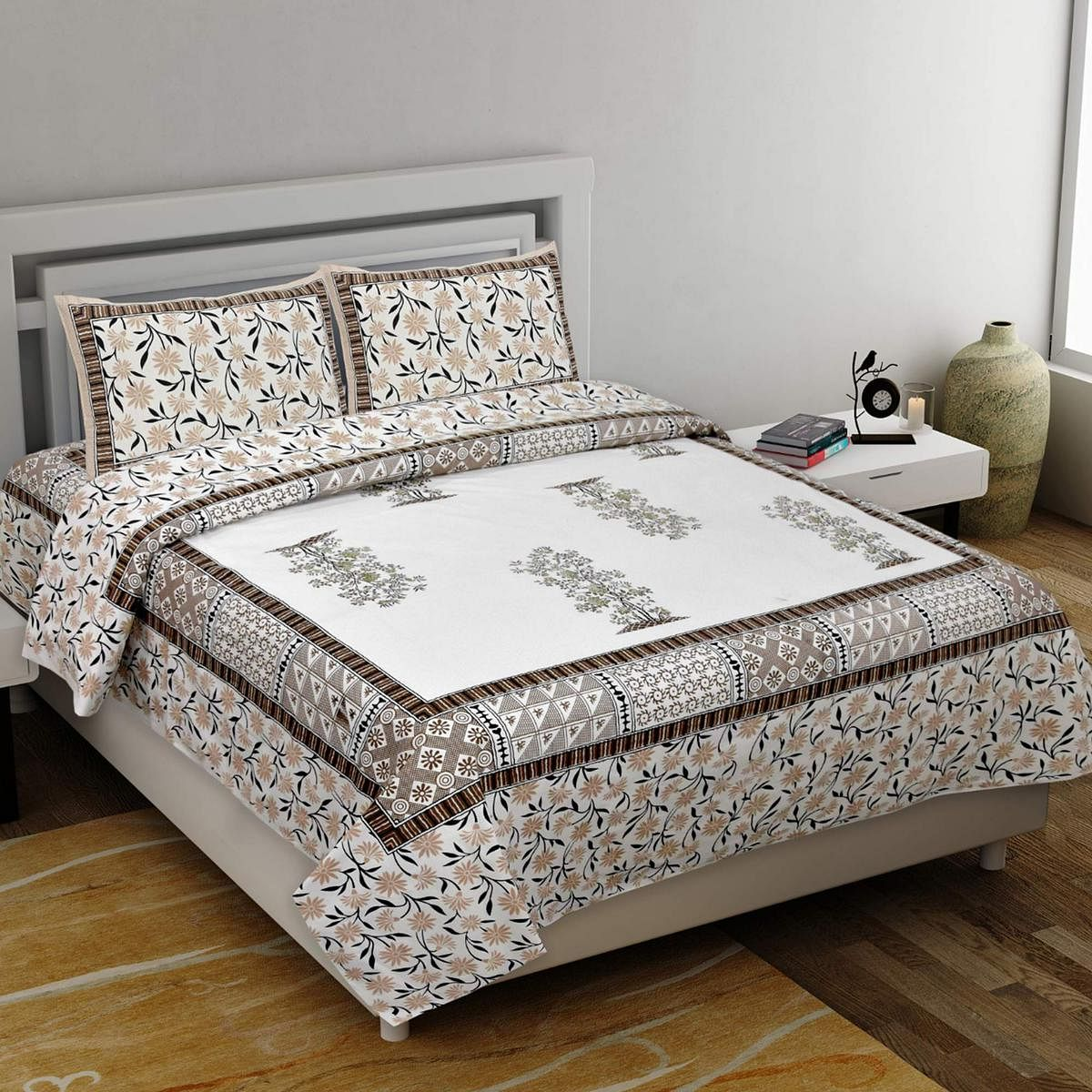 Diva Collection - Red Colored Jaipuri Print Cotton King Bedsheet with 2 Pillow Cover