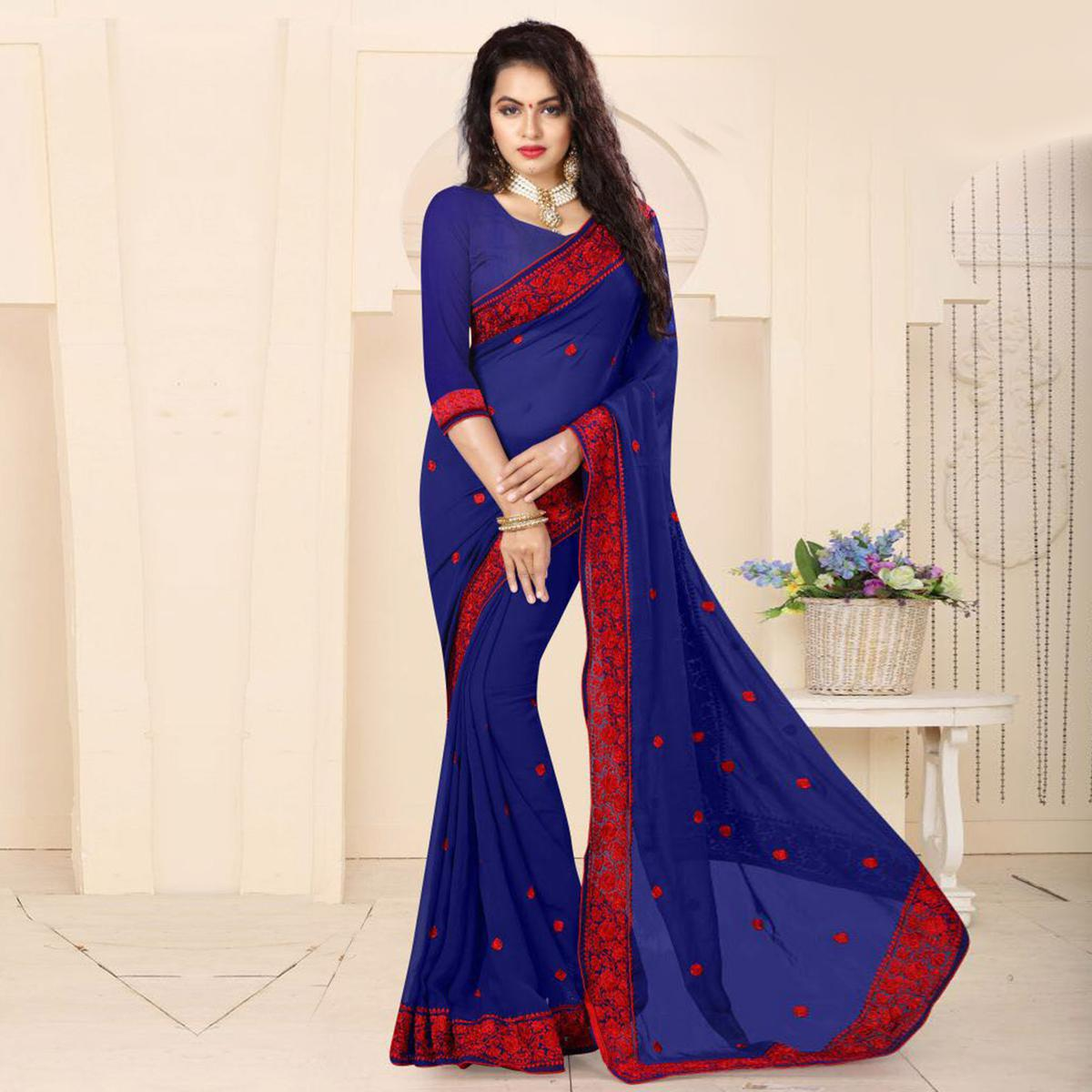 Royal Blue Embroidered Georgette Saree