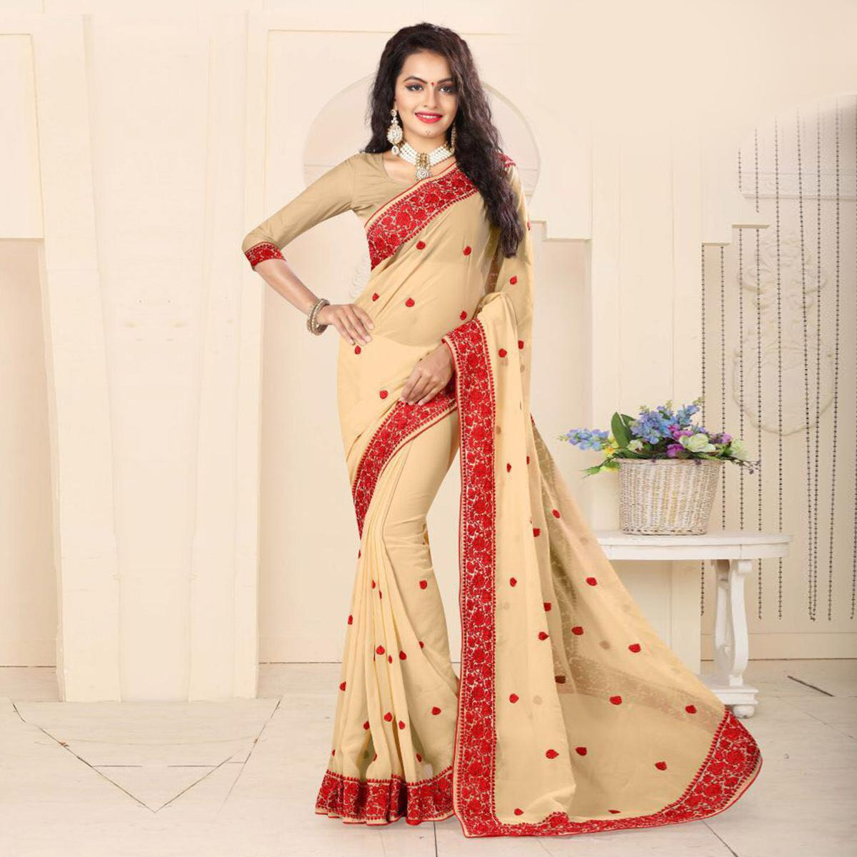 Classy Cream Embroidered Georgette Saree