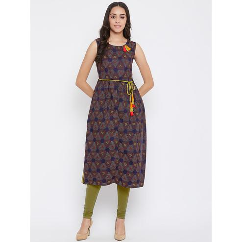 Winered - Navy Blue Colored Casual Wear Printed Cotton Kurti