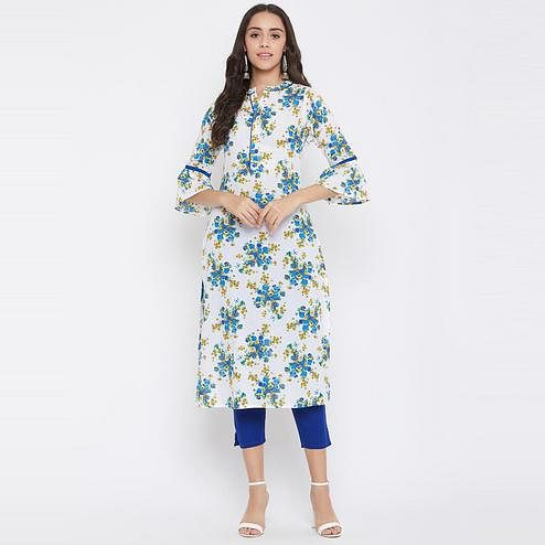 Winered - White-Blue Colored Casual Wear Floral Printed Cotton Kurti