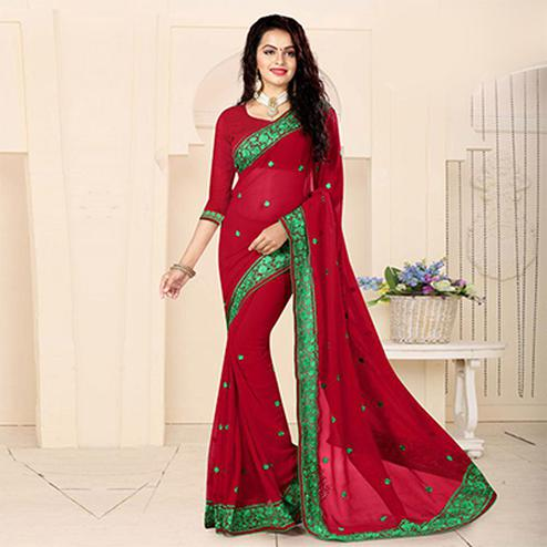 Lipstick Red Embroidered Georgette Saree