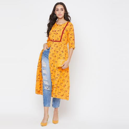 Winered - Yellow Colored Casual Wear Floral Printed Rayon Kurti