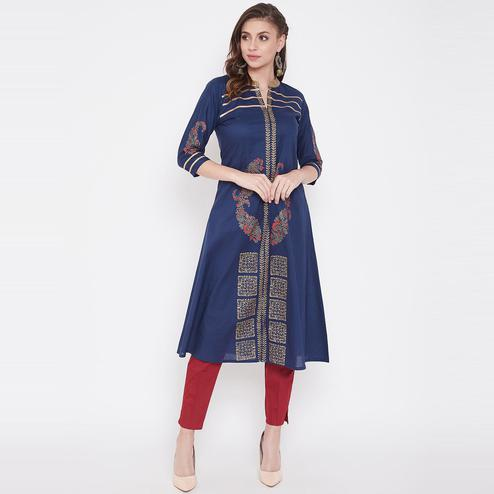 Winered - Dark Blue Colored Casual Wear Block Printed Calf Length A-Line Cotton Kurti