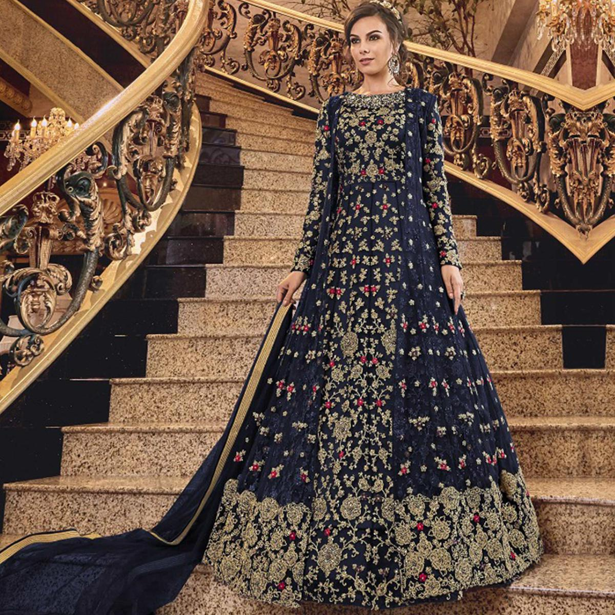 Arresting Blue Colored Partywear Embroidered Abaya Style Soft Net Anarkali Suit