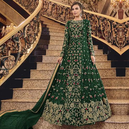 Desirable Green Colored Partywear Embroidered Abaya Style Soft Net Anarkali Suit