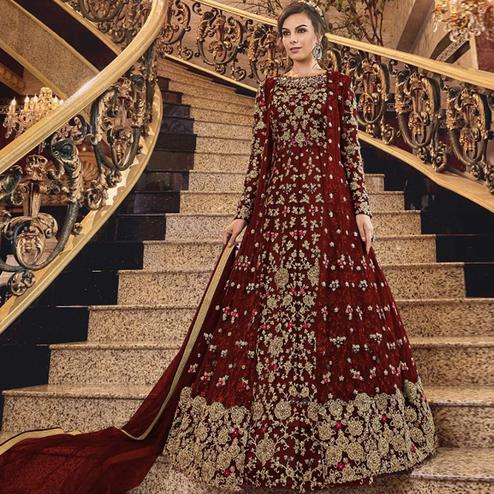 Exotic Maroon Colored Partywear Embroidered Abaya Style Soft Net Anarkali Suit