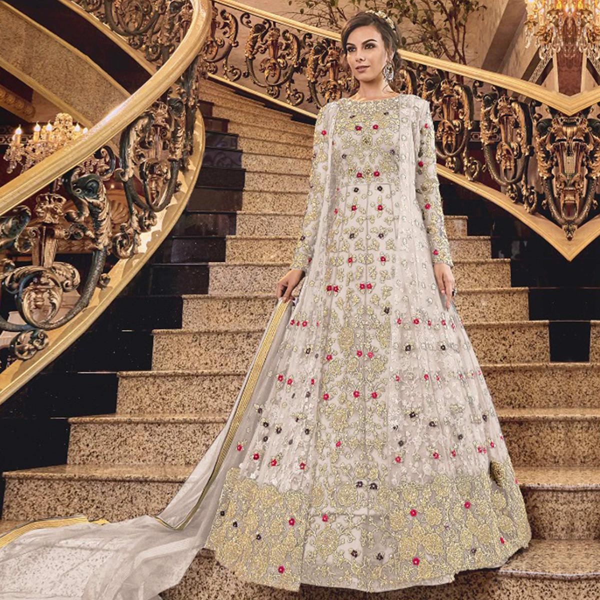 Sophisticated White Colored Partywear Embroidered Abaya Style Soft Net Anarkali Suit