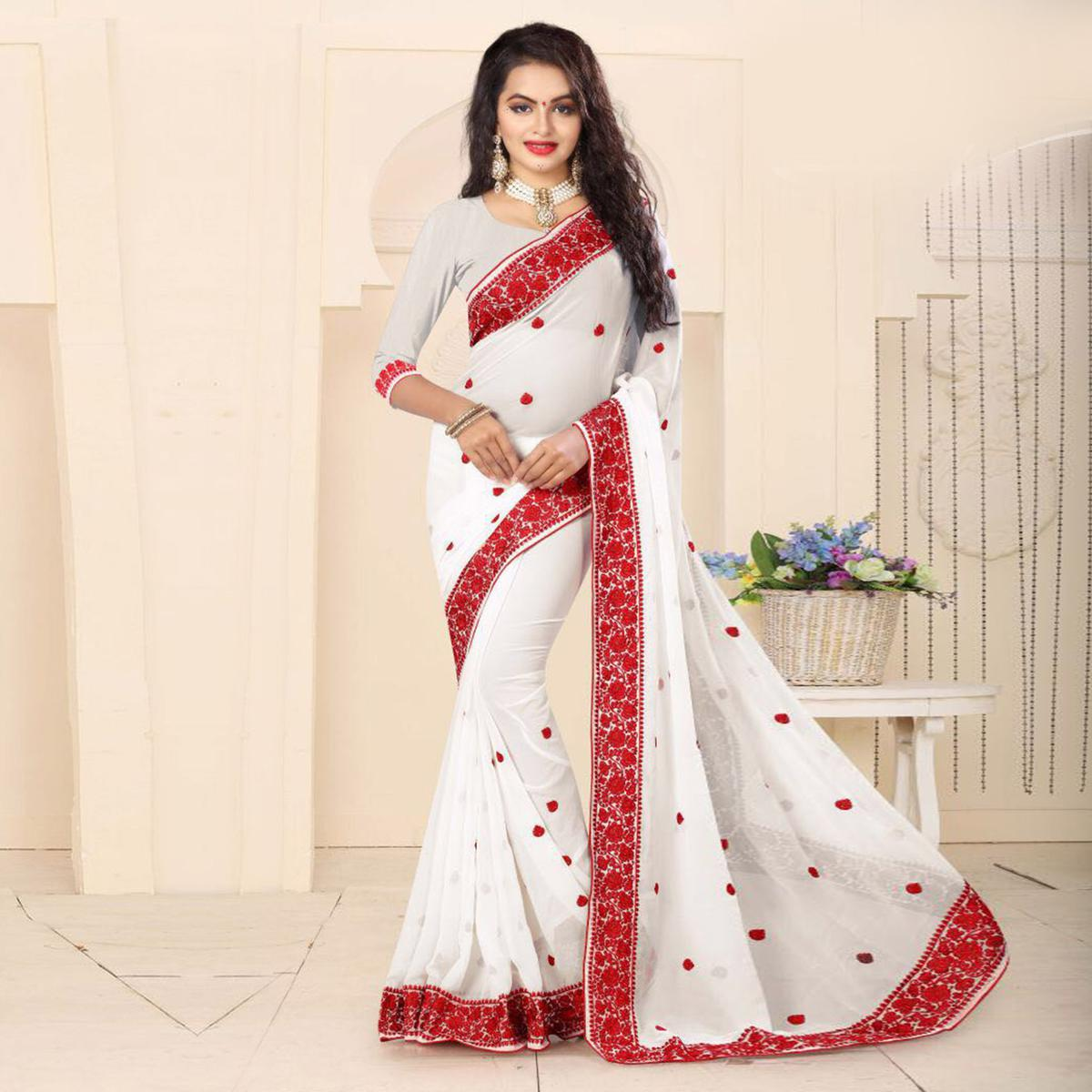 Elegant White Embroidered Georgette Saree